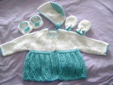 New Hand Knitted Turquoise/White Pram Set 0/3 months