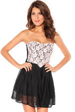 Black and White Cocktail Dress Prom Lace Sheer Chiffon Mini Party 2688