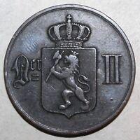 Norwegian 5 Øre Coin, 1875 - KM# 349 - Norway Oscar II Five Ore Norge Lion