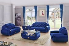 ESF Giza Contemporary Luxury Blue Velour Living Room Sofa, Loveseat, & Chair Set