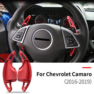 Red Steering Wheel Shift paddle Shifter Extension For Chevrolet Camaro 2016-2019