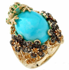 NIB Heritage Gems White Cloud Turquoise-Gemstone-Diamond Vermeil Frog Ring-Sz 7