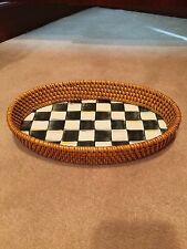 Mackenzie Childs Courtly Check Enamel and Rattan Tray - Small