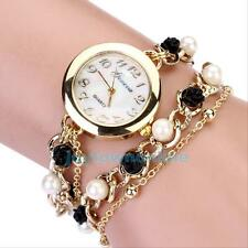 Korean Women Faux Pearl Rhinestone Chain Bracelet Round Dial Analog Wrist Watch