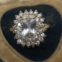 Vintage Sterling Silver Ring 925 Size 7.5 FAS gold Rose Vermeil CZ Halo