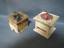 Ancien lot 2 moulin à café de dinette poupée jouet ancien old toy vintage