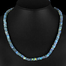 154.85 CTS NATURAL UNTREATED SINGLE STRAND BLUE FLASH LABRADORITE BEADS NECKLACE