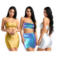 Women 2 Piece Bodycon Two Piece Crop Top Blouse + Skirt Set Leather Dress Party