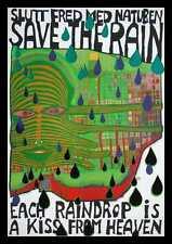 Hundertwasser Save the rain Poster Bild Kunstdruck im Alu Rahmen schwarz 59x84cm