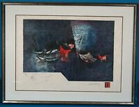 Rare Lebadang Hoi Untitled Boat Lithograph Signed Limited Edition on Rice Paper