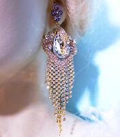 Clear Rhinestone Crystal Chandelier Earrings 4.9 in