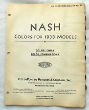1938 NASH DUPONT COLOR PAINT CHIP CHART ALL MODELS ORIGINAL