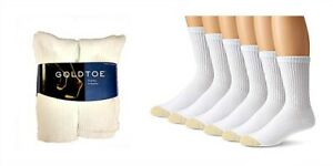 Gold Toe Men's 6 Pack Cotton Athletic White Crew Socks NEW Size 10-13