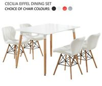 Cecilia Eiffel Dining Set - 4 x Cecilia Padded Chairs & White Halo Dining Table