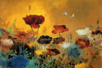 Framed Print - Watercolour Style Multi-Coloured Poppies (Picture Poppy Flowers)