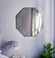 Large Hexagonal Silver Mirror Home Decoration Modern 65cm Vanity Wall Hanging