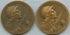 Pair of 1916 Verdun Bronze Medals in Original Pouch with Paperwork - Joan of Arc