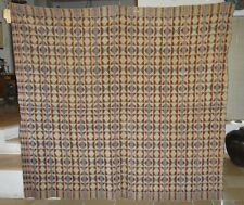 "RARE AND UNIQUE ANTIQUE 1840 AMERICAN OVERSHOT WOVEN COVERLET 80"" X 72"""