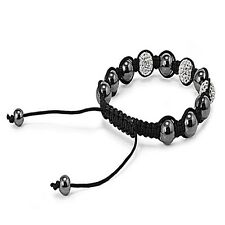Stone Bead Bracelet Hematite with 3 Clear Crystal Buddhist Style Jewelry Gift