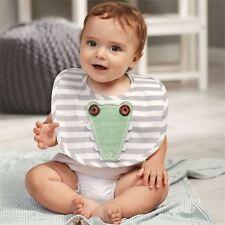 Mud Pie Baby Boy Safari Striped Alligator Open Mouth Poplin Bib New