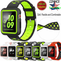 For Apple Watch Band With Case, Soft Silicone Sport Strap IWatch 38mm 42mm