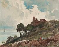 COASTAL CASTLE IN LANDSCAPE Small Victorian Watercolour Painting 19TH CENTURY