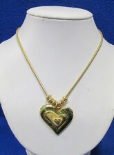 Heart Pendant Necklace In 3 Layers Gold Tone Metal Snake Chain & Gold Ring Beads