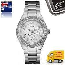 Guess Ladies Watch Luna Silver Tone Crystal Glitz Chrono U0729L1 W0729L1