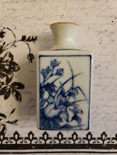 Vintage Japanese Arita Imari Rectangular Sake Bottle Blue and White