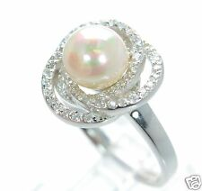 Joseph Esposito Diamonique Solid 925 Sterling Silver Pearl Swirl Ring Sz-11 '