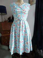 Vintage 40s/50s/early 60s Blue white floral print Tea dress landgirl rockabily 8