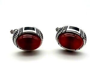 Handmade Artisan Men's 925 Sterling Silver Cufflinks Red Agate