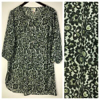 Fig & Flower 2X 18 20 Top Tunic Shirt Floral Green Silky Boho Romantic     f