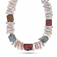 """Amour Silver 17-18 mm Mixed Freshwater Pearl Irregular Shaped Necklace Clasp 18"""""""