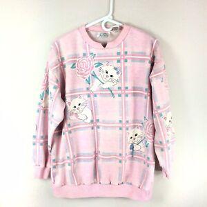 Vintage Pastel Pink Cat Rose Sweatshirt Kawaii Fairy Kei Size Large