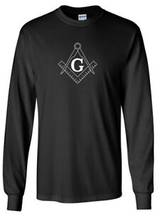 Free Mason Symbol Square & Compass Masonic Illuminate Black Long Sleeve T-shirt