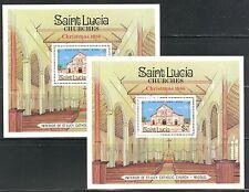 CHRISTMAS ON ST LUCIA 1986 Scott 871 SOUVENIR SHEET LOT OF 2, MNH