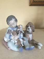 LLADRO 5456 NEW PLAYMATES FIGURINE SPAIN BOY PUPPIES DOG  Adorable!