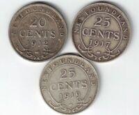 3 X NEWFOUNDLAND .925 SILVER COINS 1912 TWENTY CENTS 1917 1919 TWENTY FIVE CENTS