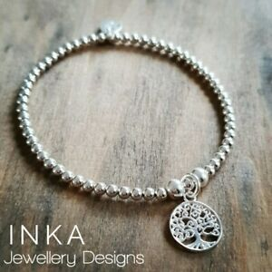 Inka 925 Sterling Silver stretch beaded Stacking Bracelet Tree of Life charm