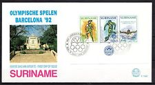 Suriname - 1992 Olympic games Barcelona -  Mi. Bl. 58 clean FDC