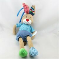 Doudou musical lapin marron bleu vert rouge LIEF - Lapin Sonore/vibrant