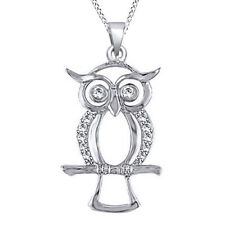 0.07 Cttw Rounsd Diamond Owl Pendent Necklace 10K Solid White Gold