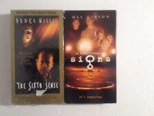 Lot of 2 Vhs Movies Signs & Sixth Sense Mel Gibson_Bruce Willis