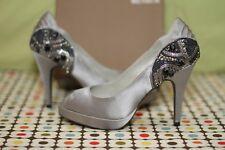 Menbur Silver Satin Embellished Beaded Peep-Toe Pumps