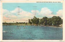 Lake Dallas Bathing Beach in Dallas TX Postcard 1941