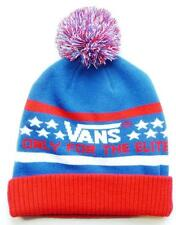 Vans Off The Wall Elite Pom Cuff Beanie Red White Blue  Mens Cap Hat New NWT