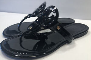 Tory Burch Miller Black Patent  Leather Thong Sandals Sz 8 M See Pics