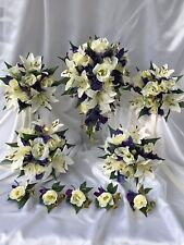 REAL TOUCH BLUE PURPLE ORCHIDS WHITE LILIES & SILK CREAM LISIANTHUS 10 PCE SET