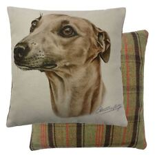 FILLED EVANS LICHFIELD BROWN WHIPPET DOG REVERSIBLE TARTAN COTTON CUSHION 17""